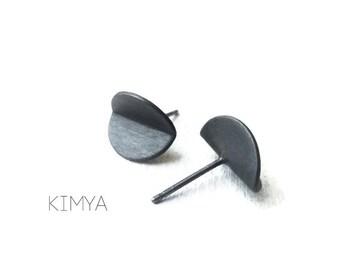 Minimalist Oxidized Silver Stud - Silver Stud Earrings - Everyday Stud Earring - Modern Black Stud - Contemporary Stud - Simple Stud Earring