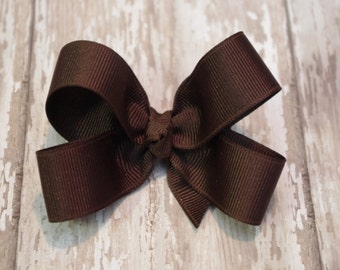 Chocolate Brown Toddler Hair Bow 3 Inch Alligator Clip Baby Hairbow
