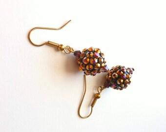 Disco Ball Earrings, Orange Pink Crystal Rainbow Shimmer, Pierced Earring Balls, Fun Retro Summer Jewelry