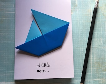 Origami greeting card - two tone blue sailing boat 'a little note'