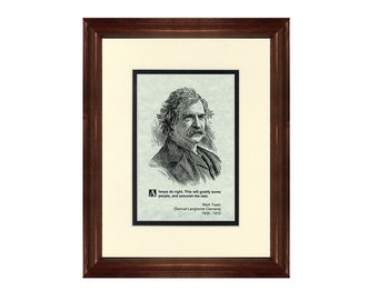 Print and Quotation of Mark Twain with Mat and Frame