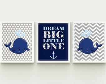 Nautical nursery printable wall art, whales boy nursery custom colors printable wall decor,  playroom art dream big little one download