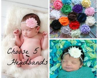 2.00 EACH! Pick 5 Shabby Chic Headbands, Newborn Headband, Baby Headbands, Headband, Baby Headband, Infant Headband, Baby