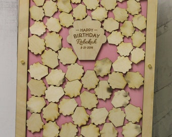Birthday/Top Drop Frame/Guest Book/Unique/Alternative/Birthday Cupcake/Cupacake Themed Birthday/Drop Frame/Birthday party/Fast Shipping