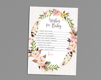 Wishes For Baby Shower Game Printable, Floral Woodland Theme, Matching Party Items, Florals, Boho Chic, Gender Neutral, Girl Baby Shower