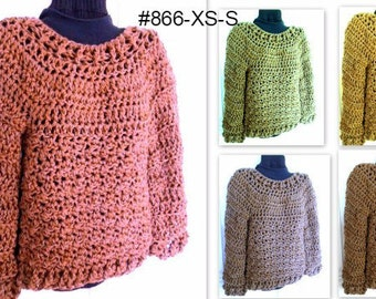 CROCHET PATTERN, Pullover Sweater, Chunky OverSized Sweater, Women's Clothing, for women teens,  #866-XS-S, Quick and Easy