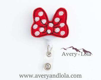 Bow Badge Reel, Mousey Bow Badge Reel, Bow ID Holder, Mousey Bow ID Holder, ID Badge Holder