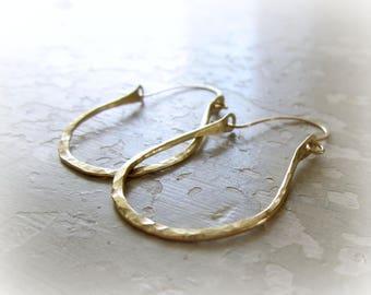 Hammered Brass Earrings, Brass Hoop Earrings, Textured Brass Earrings, Hoop Earrings, Hammered Hoops, Lightweight Hoops, Rustic Earrings