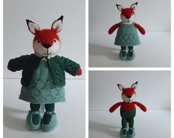 Hand Knitted Little Red Fox in Green