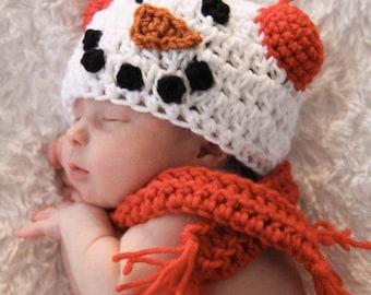 CROCHET HAT PATTERN: Snowboy (newborn-adult)- Snowman pattern- crochet snowman hat pattern
