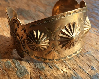 Native American wide brass cuff feather arrow