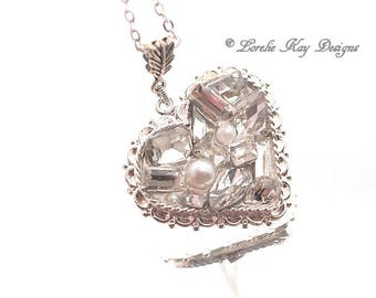 Rhinestone Pearls Heart Necklace Fine Silver Plated Elegant Heart Pendant Lorelie Kay Original