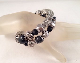 Antique Silver Viking Knit Bracelet with Black Accent Beads Wrap Bracelet Wraps Around Two Times and Fits all Sizes, One of a Kind