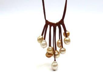 Australian pearls on leather, woman necklace
