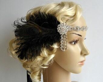 Art deco 1920s design, The Great Gatsby flapper, bridal fascinator 1920's, 1930's, Feather rhinestone crystal headband, wedding headpiece