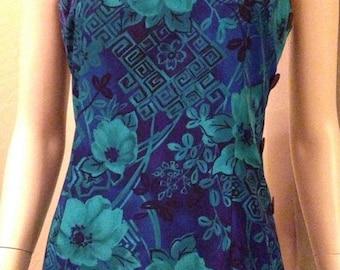 Beautiful Sleeveless Deep Blue and Green Hawaiian Style Dress by R & K Originals
