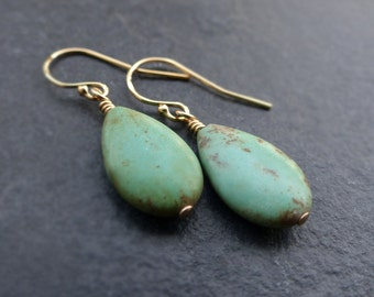 Turquoise earrings, 14K gold filled, sterling silver, turquoise teardrop earrings, turquoise drop earrings, gift for women
