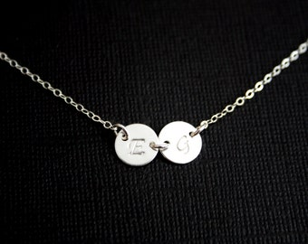 Personal Sideways TWO Disks Necklace - All Sterling Silver/14K Gold Filled - engraved necklace, Simple, Cute look, Everyday wear, Sweet gift