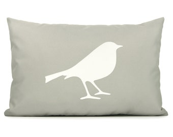Modern outdoor pillow cover, Garden decor, Summer decoration, Off white & grey bird applique accent cushion cover - 12x18 lumbar pillow case