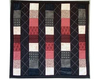 Abstrait Art Quilt tenture Patchwork géométrique colonnes 18 pouces carré