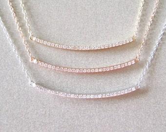 Diamond Bar Necklace - Diamond Necklace - Layering Necklace