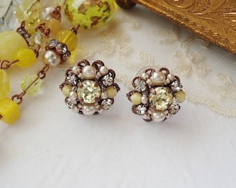 Pale Yellow Earrings Studs. Vintage Style Rhinestone Jewelry. Handmade Unique Gift. Gift Boxed Jewelry Gift Ideas. Spring Season Accessories