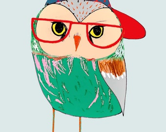 Illustration art print, owl poster, kids print. Owl Kid.