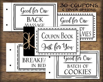Coupon Book. Printable gift idea. Instant download. DIY PDF. Digital print. Love vouchers. Gift for husband, wife, child, parent, friend
