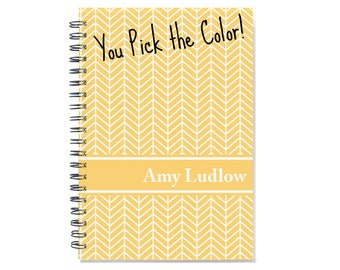 12 or 24 month Monthly Planner, Personalized 2018 2019 Calendar Notebook, Start Any Time, Add Your Name, Custom Gift Idea, SKU: pn chevron