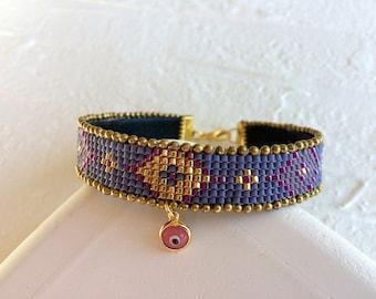 Ultra Violet Bracelet, Tribal Bracelet, Ultra Violet Pantone, Evil Eye Jewelry, Purple Bracelet, Boho Bracelet, Gypsy Jewelry, Birthday Gift