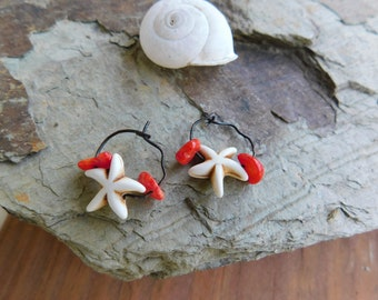 The Little Starfish Earrings. Gifts From The Enchanted Sea. Lucite Starfish and Genuine Coral chip boho earrings