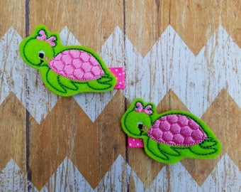 Turtle hair clips, turtle clippies, clippies, girls hair clips, pigtail bows, turtle hair bows, turtle clips, clippie set, felt hair clips