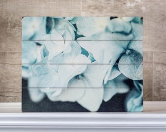 Wood Sign: Teal Shabby Chic Wall Art, Aqua Cottage Decor, Soft Aqua Hydrangea on Wood Planks, Floral Pallet Art, Blue Hydrangea on Wood.