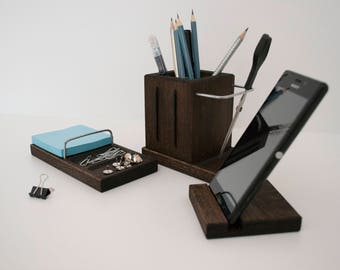 Desktop set, office accessories, business supplies, home office supplies, Stand for iphone, pencil holder, office organizer, desk organizer