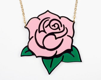 "Pink "" Gipsy Rose "" necklace in brilliant finish acrylic, laser cut, golden brass chain"