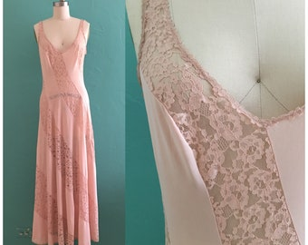vintage nude lace slip dress // maxi lounge dress
