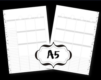 Blank A5 Printable Planner Pages Week spread vertical box style, Grayscale, Black & White
