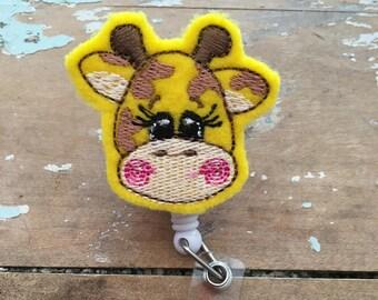 Giraffe ID badge reel holder retractable clip