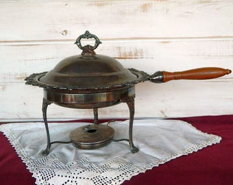 Towle Silver Plated Chafing Dish with Wooden Handle and Burner