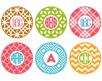 Round Patterned Circle Monogram Frames Cut Files - svg, studio3, dxf, eps - Abstract Geometric Pattern Cutting Files for Cricut, Silhouette