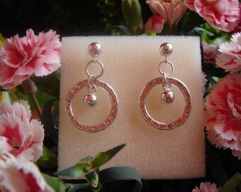 925 Silver earrings with sparkly ring!