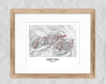 Sunday River Topographic Trail Map Print