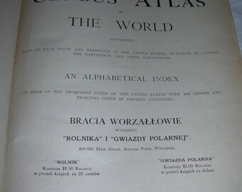 Rand McNally & Co New Census Atlas of the World 1911 Bracia Worzallowie HC Vintage