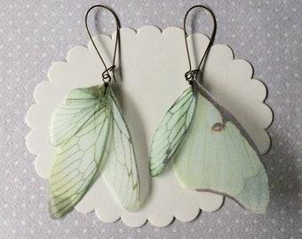 Handmade Butterfly, Luna Moth and Cicada Wings Earrings in Silk Organza - Green Wings Earrings - Ready to Ship