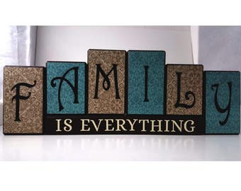 Family is Everything Wood Block Set with Antique Blue and Tan Look