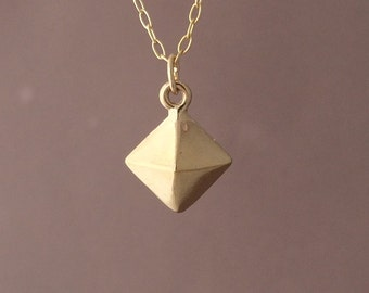 Gold Stud Pyramid Necklace