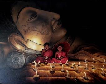 "Original Oil Painting ""In Reverence of Buddha"" by Ketut Gede Susana"