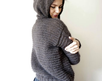 Teens- Women Mohair & Alpaca Blend Hooded Pullover / Cropped Sweater / Grey Brown