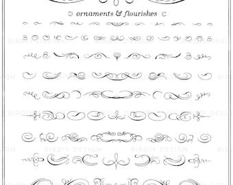 Vintage Ornaments Clipart Set - Calligraphy Clipart - Boho Clipart - Rustic Clipart - Clip Art - EPS and PNG - Instant Download