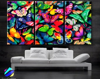 "LARGE 30""x 60"" 3 Panels Art Canvas Print beautiful Butterflies Butterfly colors Wall home Decor interior (Included framed 1.5"" depth)"